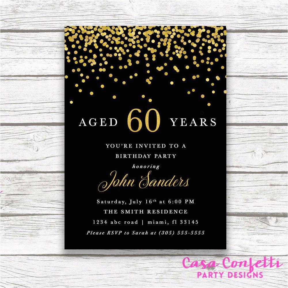 60th birthday black gold foil confetti