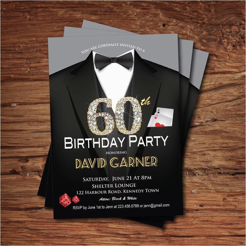 casino 60th birthday invitation adult