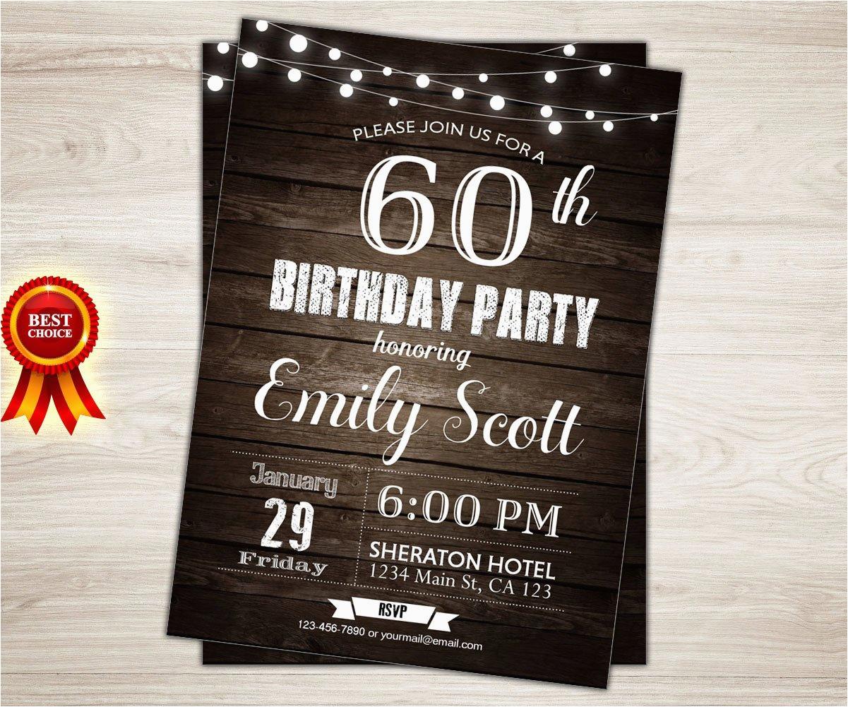 Male 60th Birthday Invitations Surprise Invitation Man Party