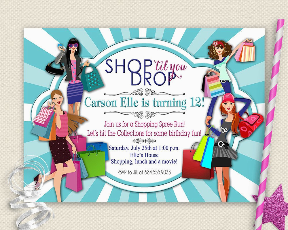 Mall Scavenger Hunt Birthday Party Invitations Girls Day Out Invitation Shopping Birthday Invitation Mall