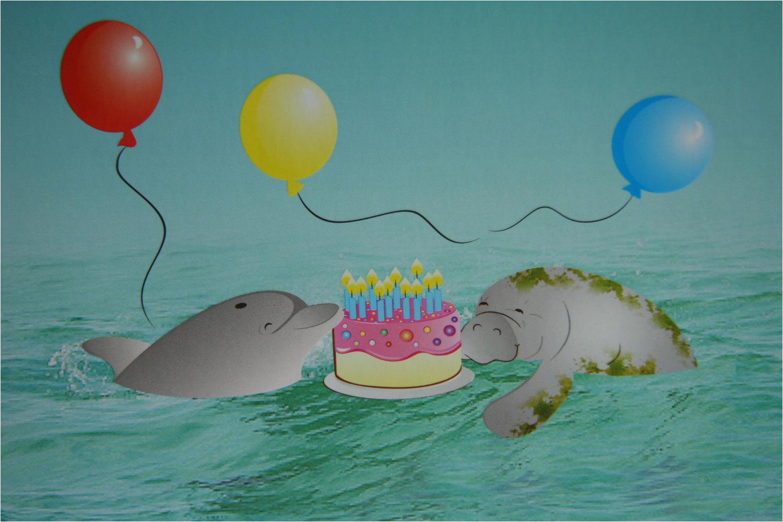 dolphin and manatee happy birthday card