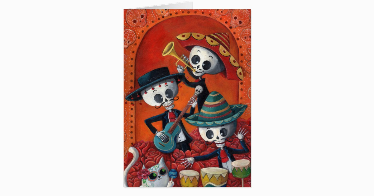 dia de los muertos skeleton mariachi trio card zazzle com