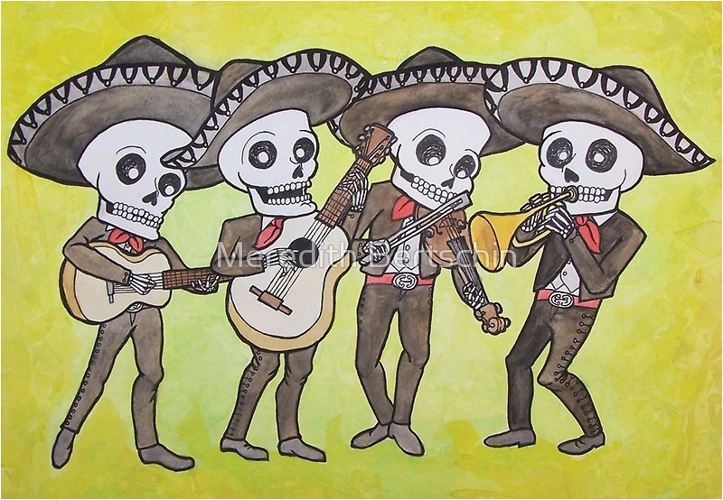 Mariachi Birthday Card Quot Mariachi Calacas Greeting Card Quot Greeting Cards