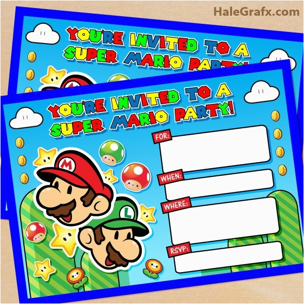 mario birthday invitations template