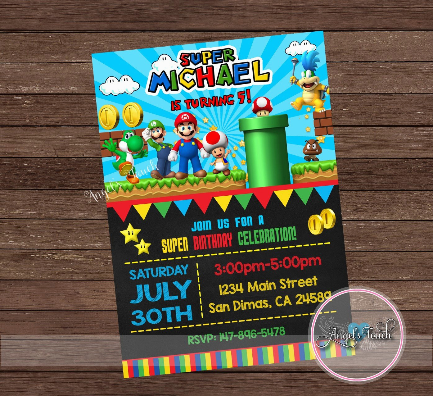 super mario party invitation super mario
