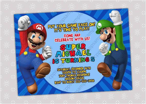 3 lovely super mario bros birthday invitations