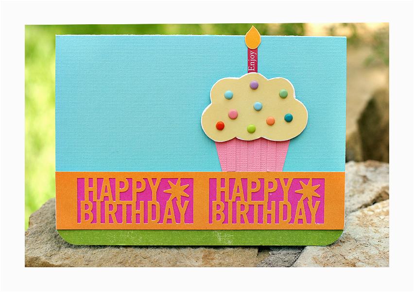 card martha stewart happy birthday punch cupcake card