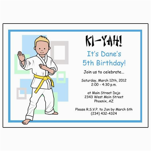 martial arts boy birthday party invitations