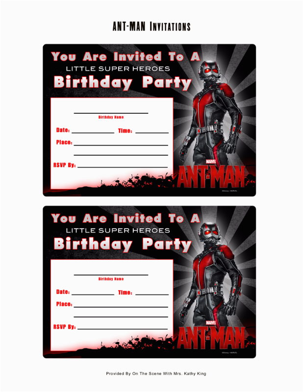 Marvel Avengers Birthday Invitations Free Ant Man Printable