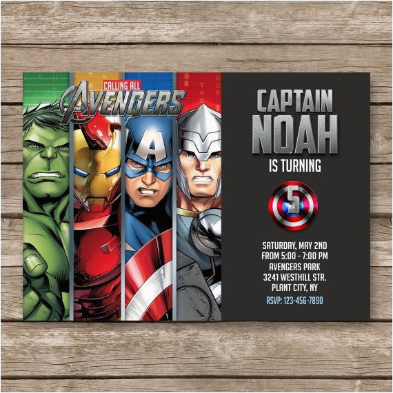 Marvel Avengers Birthday Invitations Superhero Invitation Super Hero Invite Avengers Birthday