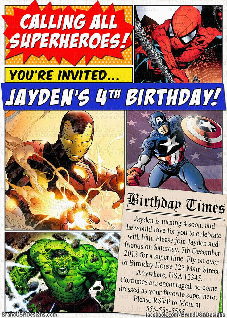 Marvel Superhero Birthday Invitations Custom Invitation Comics