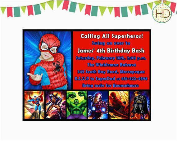 Marvel Superhero Birthday Invitations Invitation Party Spiderman By
