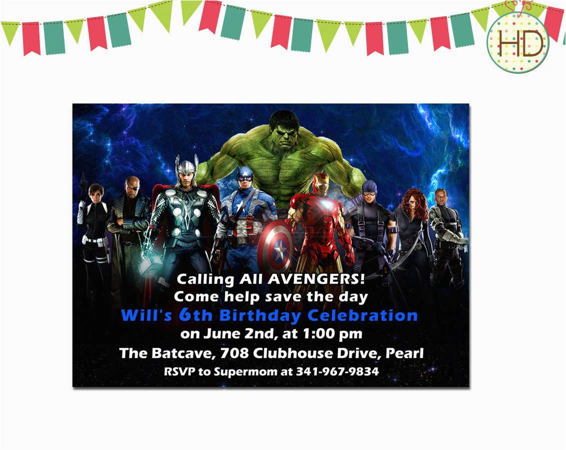 marvel superhero birthday invitations