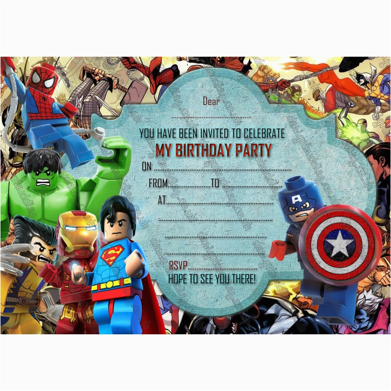 295 new boys birthday party invitations lego herolego marvel heroenvelopes