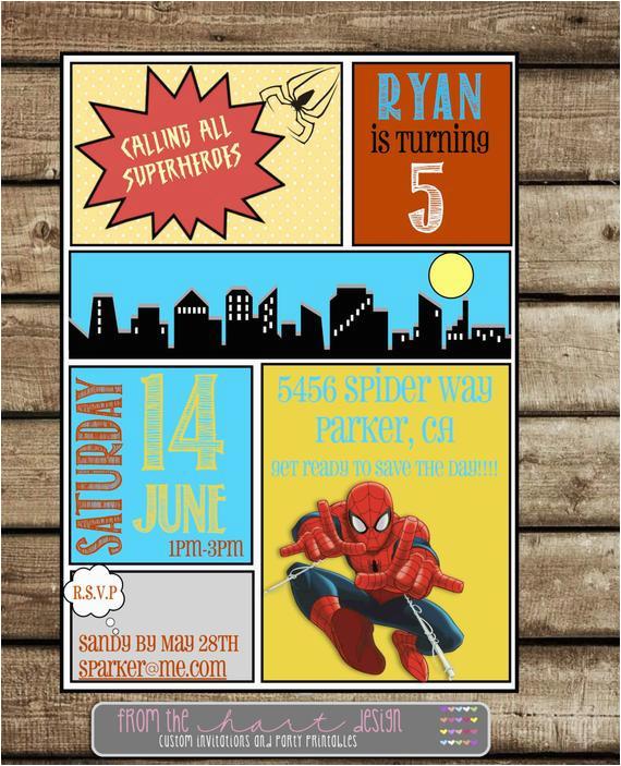 Marvel Superhero Birthday Party Invitations Spiderman Invitation Comic