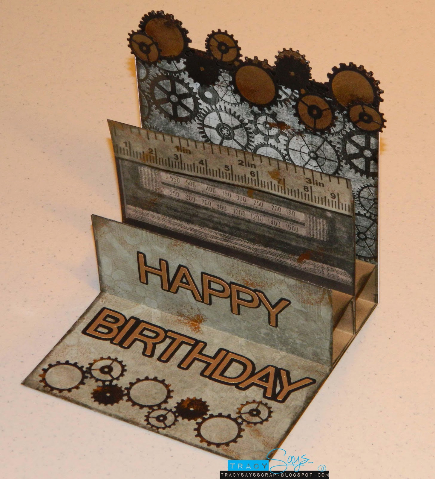 tracy says gears male birthday card
