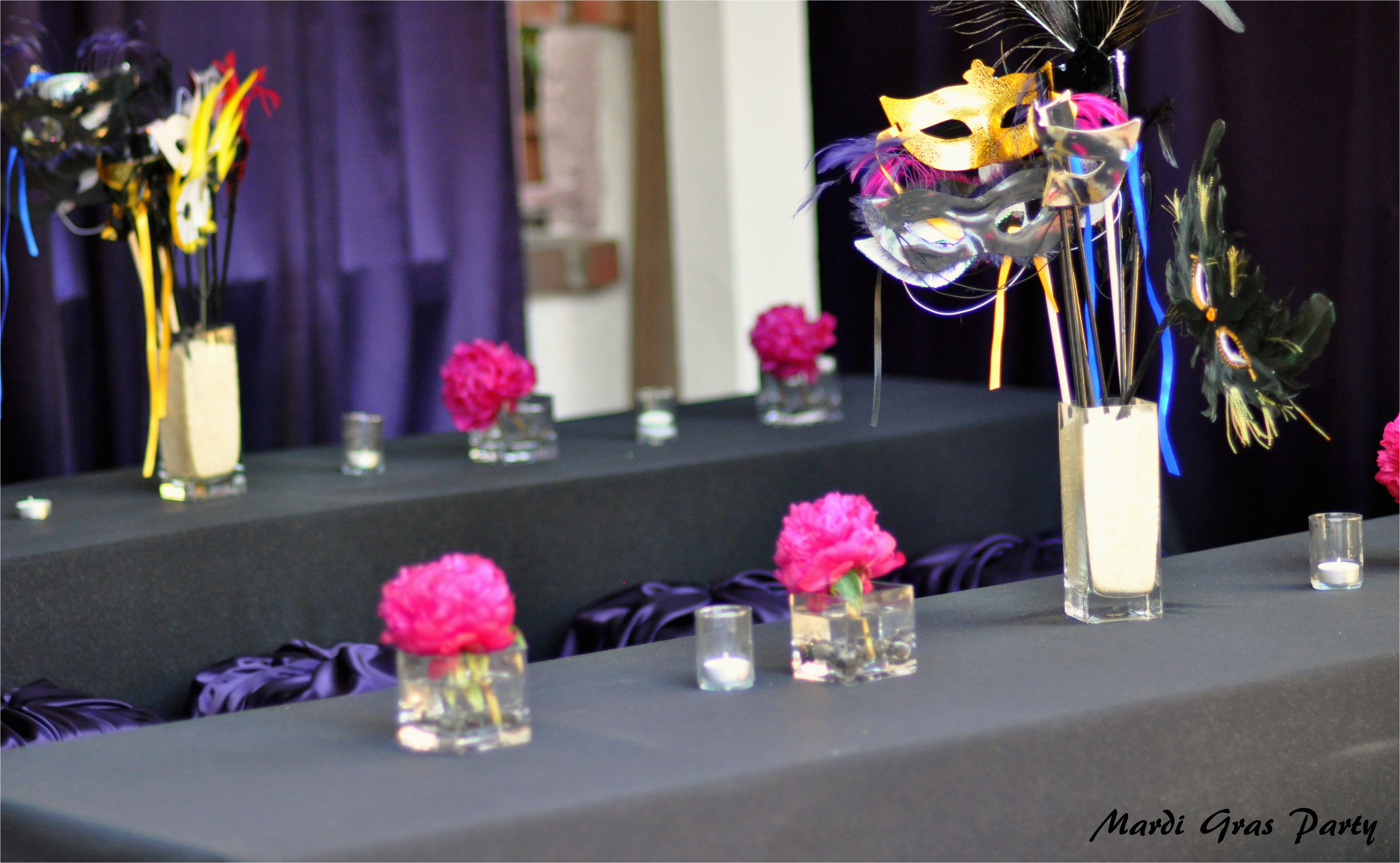 purple and pink masquerade party