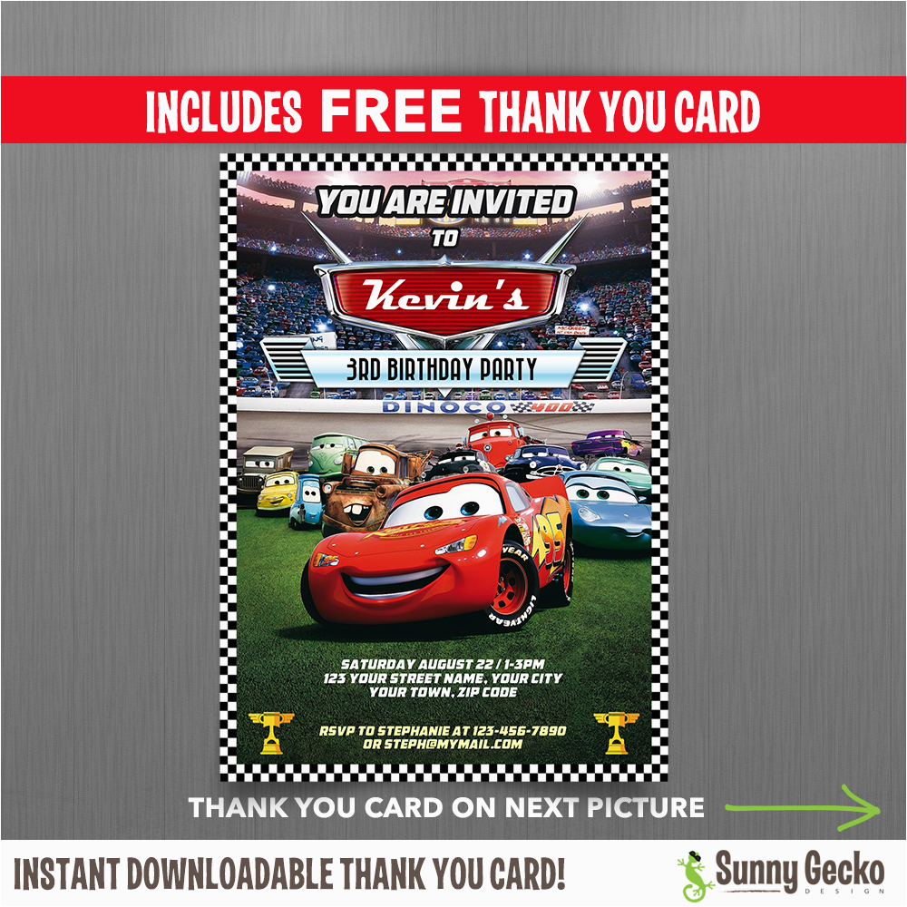 Cars Mcqueen Invitation With Free Thank You Card Disney Lightning Birthday
