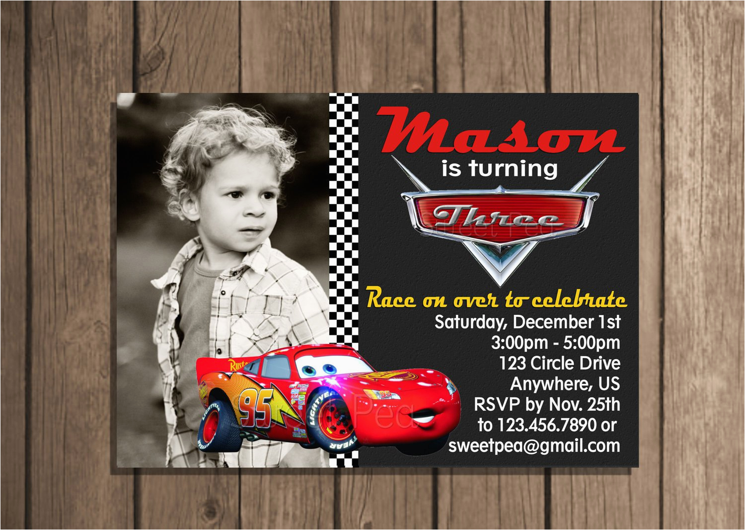 Mcqueen Birthday Invitation Cards Lightning Card