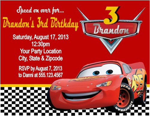 mcqueen birthday invitation cards
