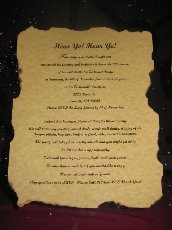 Medieval Birthday Invitations Medieval Times Birthday Quotes