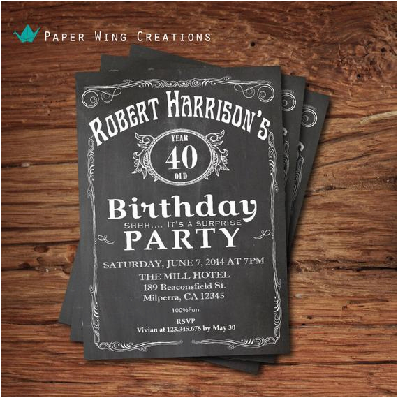 Mens 40th Birthday Invitations Invitation For Men By Thepaperwingcreation