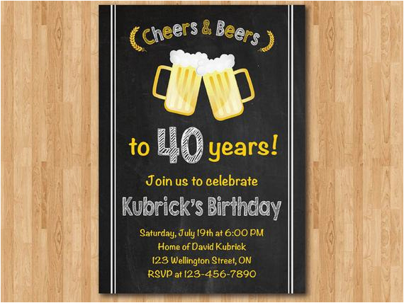 Mens 40th Birthday Invitations Invitation For Men Cheers Beers