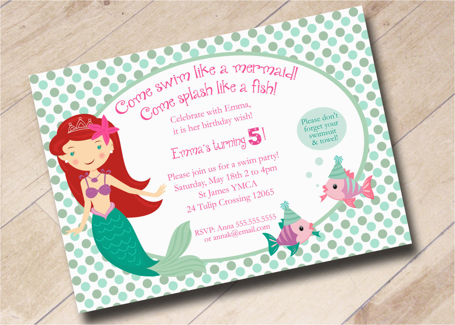 Little Mermaid Party Invitation Wording