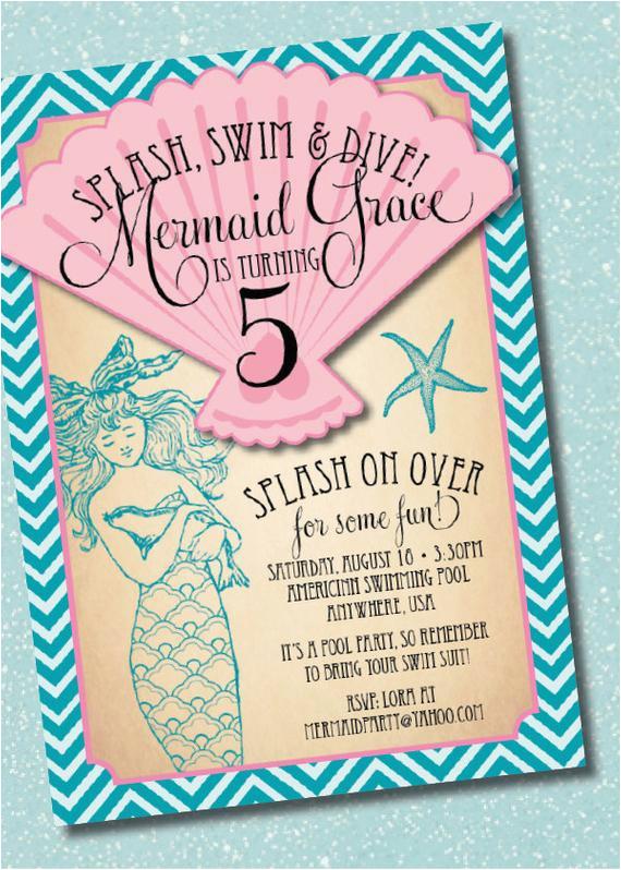 Mermaid Birthday Invitation Wording Diy Printable Vintage Party