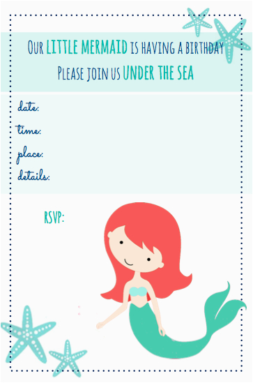 Mermaid Birthday Invitations Free Printable Beachy Party Living Well Spending Less