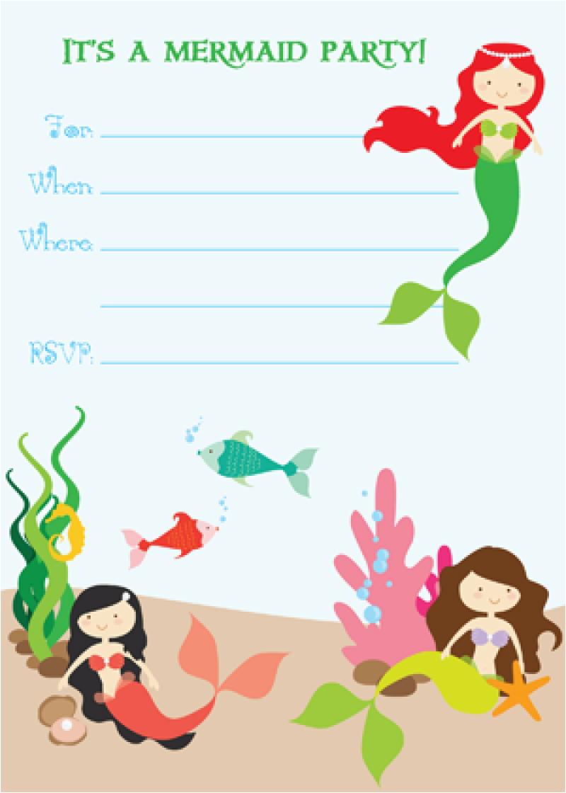 Mermaid Birthday Invitations Free Printable Invitation