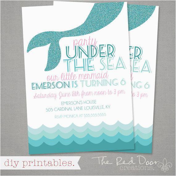 Mermaid Themed Birthday Invitations Theme Invitation Party By Thereddoorcreations