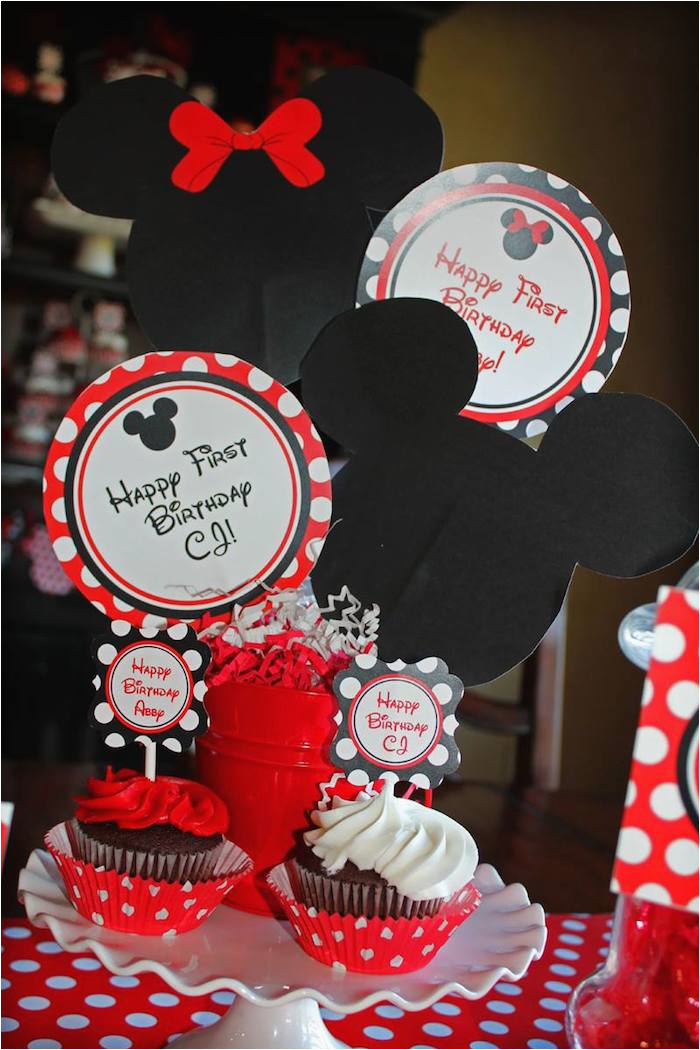 Mickey And Minnie Mouse Birthday Decorations Kara 39 S Party Ideas Themed First
