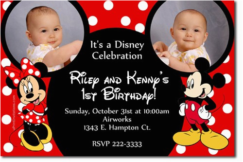 Mickey and Minnie Mouse Birthday Invitations for Twins Free Printable Mickey and Minnie Twin Birthday Invitations
