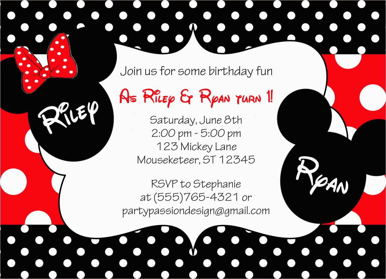 Mickey and Minnie Twin Birthday Invitations Mickey and Minnie Twin Birthday Invitation by