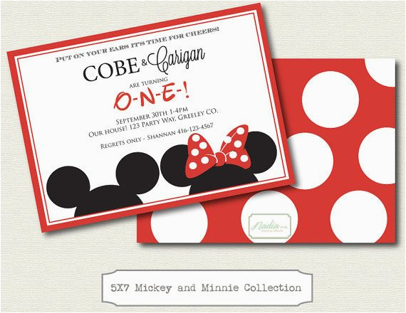mickey and minnie twin birthday invitations
