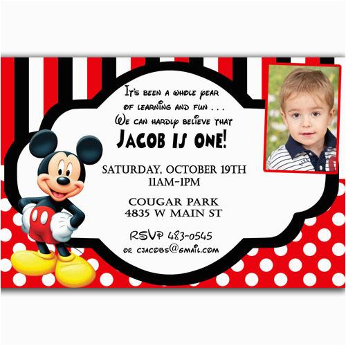 Mickey Mouse 1st Birthday Invites Invitations Ideas Drevio