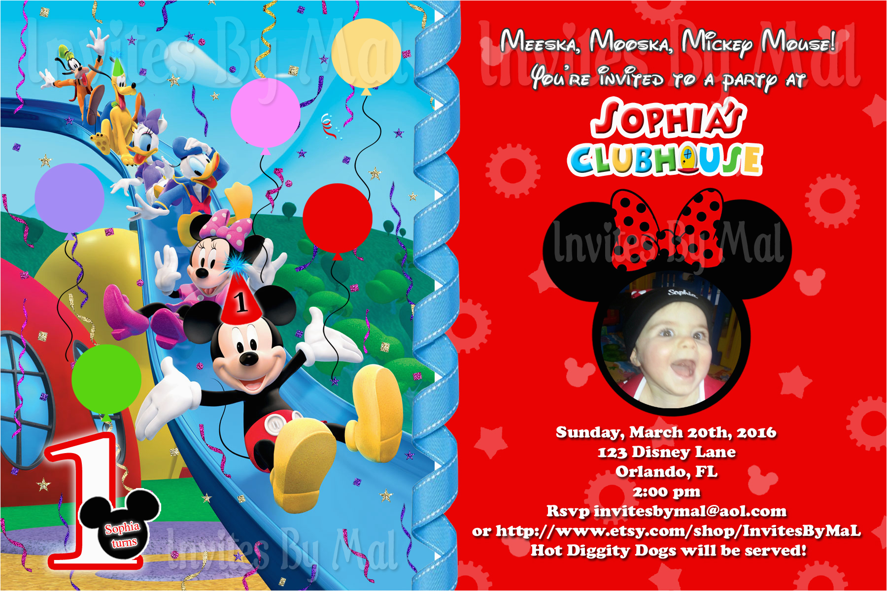Mickey Mouse Birthday Invitations With Photo Free Printable 1st