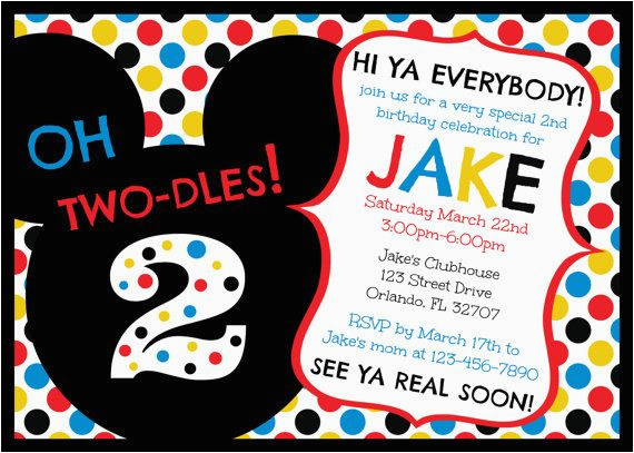 Mickey Mouse Clubhouse 2nd Birthday Invitations Oh Two Dles Invitation
