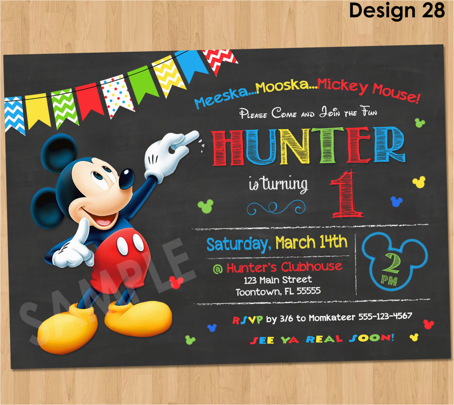 Mickey Mouse Clubhouse First Birthday Invitations Mickey Mouse Birthday Invitation Mickey Mouse Clubhouse