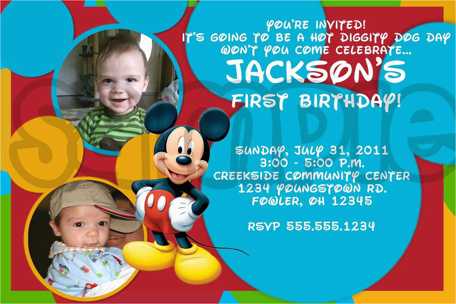 mickey mouse photo birthday invitations