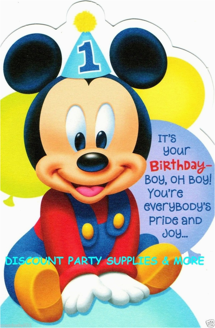 Mickey Mouse First Birthday Card Disney 1st Greeting