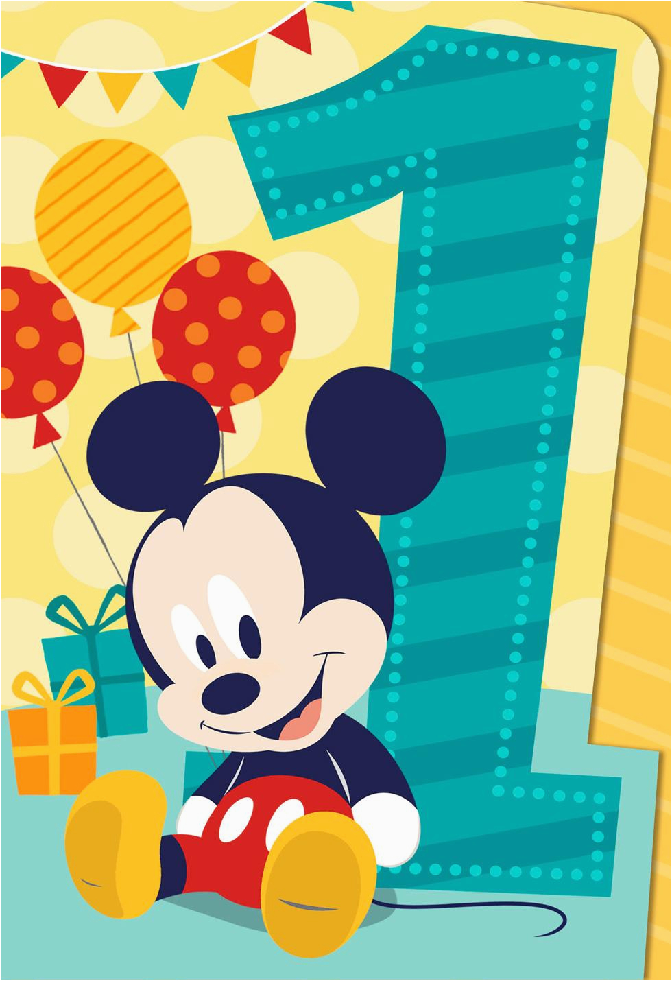 mickey mouse musical 1st birthday card 559tng1087