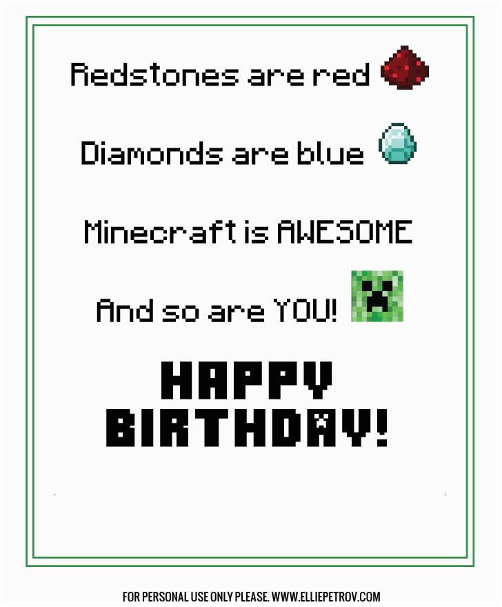 free printable minecraft birthday card minecraft