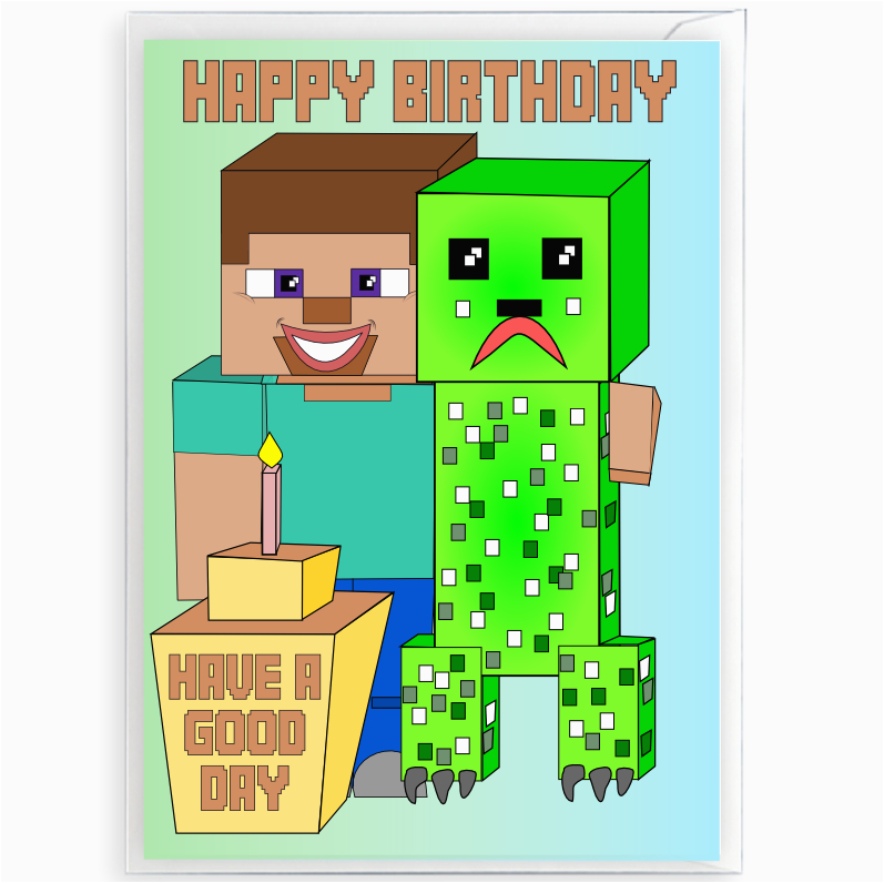 inspired by video games minecraft birthday card with