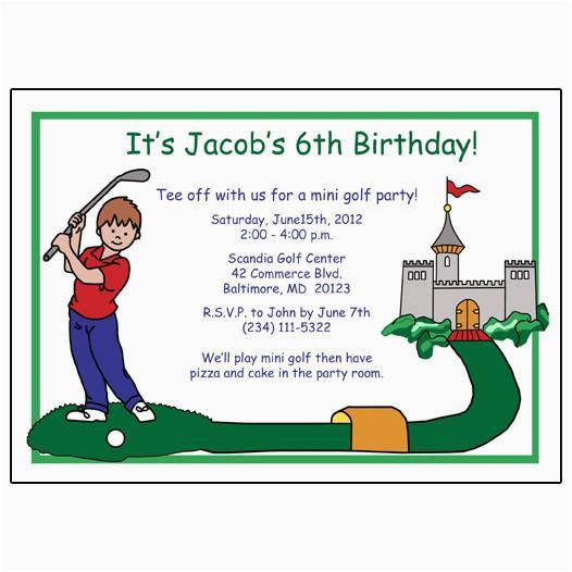 mini golf boy birthday party invitations