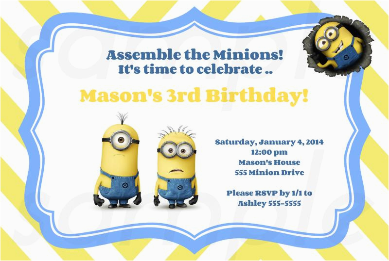 Minion 1st Birthday Invitations Free Printable Party Ideas