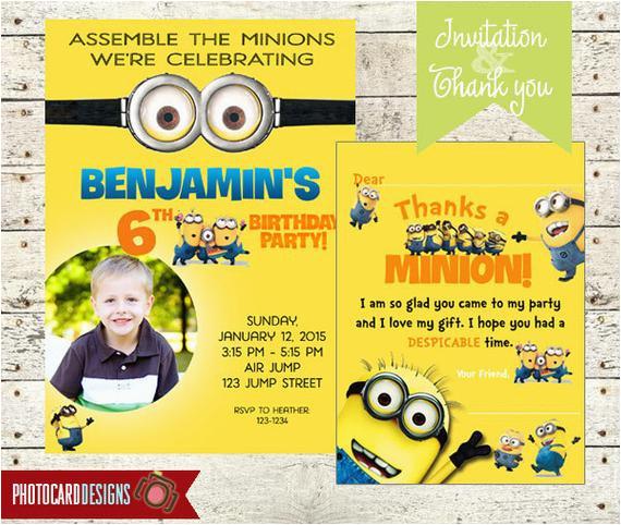 minion birthday party photo invitation