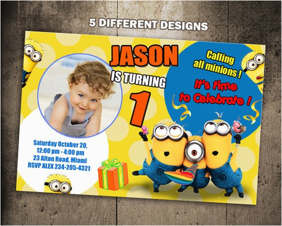 picture relating to Minions Invitations Printable identified as Minion 1st Birthday Invites BirthdayBuzz