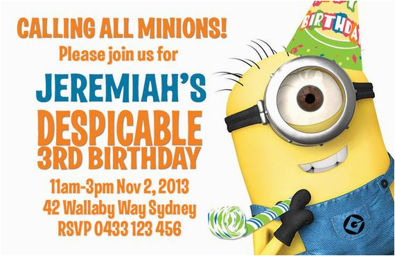 despicable me minion birthday party invitation by